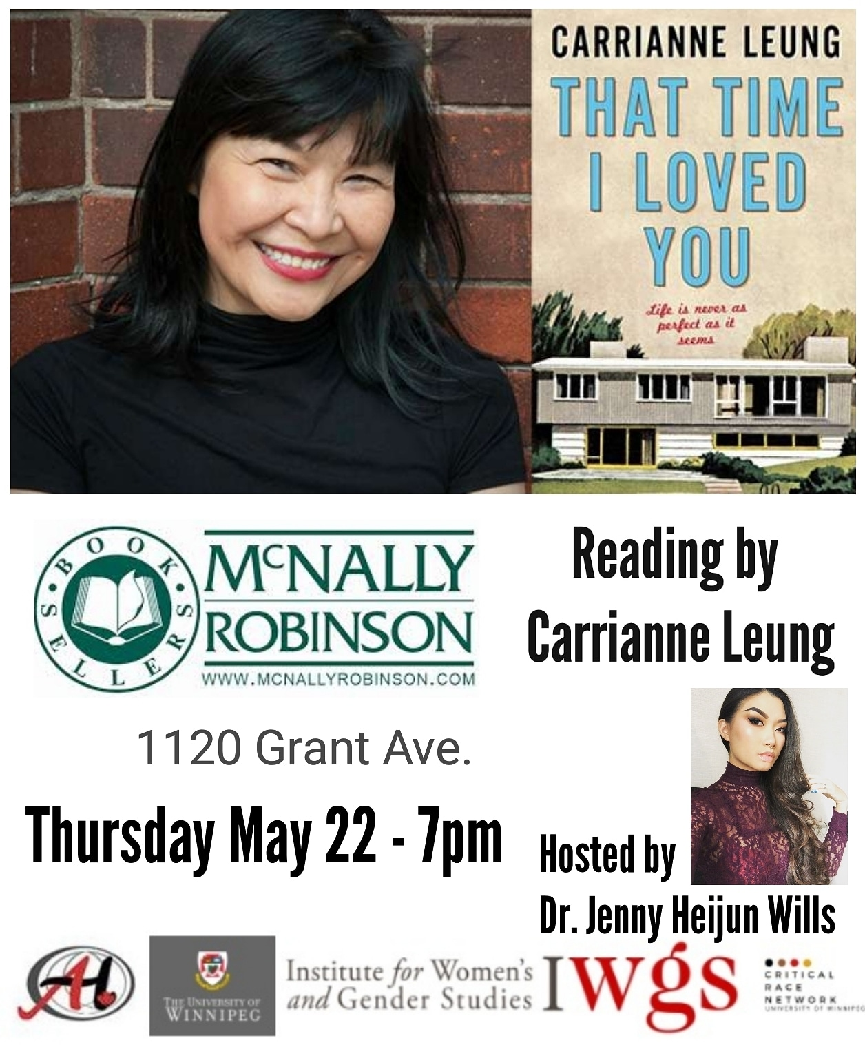 Carrianne Leung in conversation and signing That Time I Loved You McNally Robinson hosted by Dr. Jenny Heijun Wills